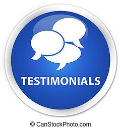 Testimonials (comments icon) premium blue round button