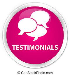 Testimonials (comments icon) premium pink round button