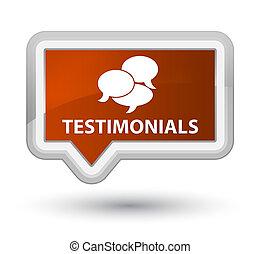 Testimonials (comments icon) prime brown banner button