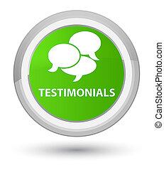 Testimonials (comments icon) prime soft green round button