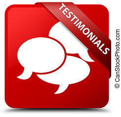 Testimonials (comments icon) red square button red ribbon in corner