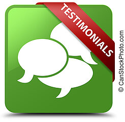Testimonials (comments icon) soft green square button red ribbon in corner