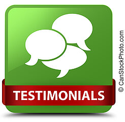 Testimonials (comments icon) soft green square button red ribbon in middle