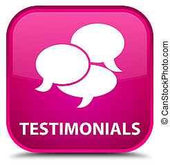 Testimonials (comments icon) special pink square button