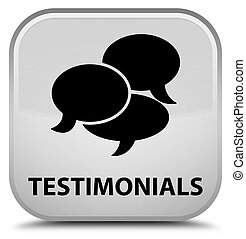 Testimonials (comments icon) special white square button