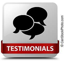Testimonials (comments icon) white square button red ribbon in middle
