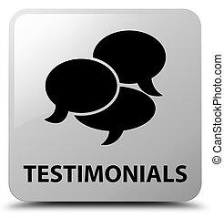 Testimonials (comments icon) white square button