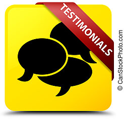 Testimonials (comments icon) yellow square button red ribbon in corner