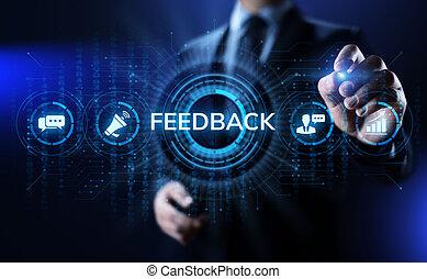 testimonials, concept., réaction, business, satisfaction, service, client, revue