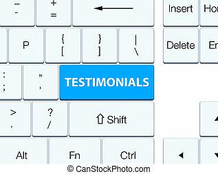 Testimonials cyan blue keyboard button