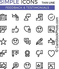 Testimonials, feedback, social network vector thin line icons set. 32x32 px. Flat line graphic design concept for websites, web design, mobile app, infographics. Pixel perfect vector outline icons set