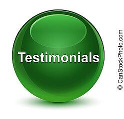 Testimonials glassy soft green round button