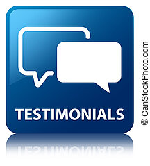 Testimonials glossy blue reflected square button