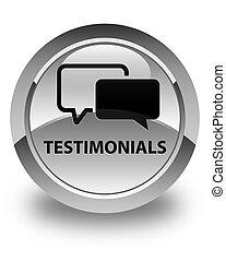Testimonials glossy white round button