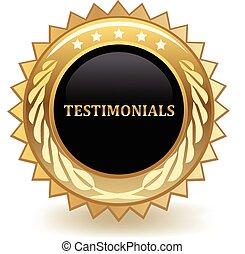 Testimonials gold badge.