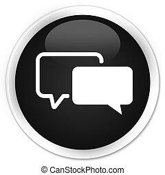 Testimonials icon black glossy round button