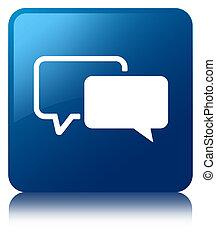 Testimonials icon blue square button