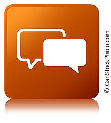 Testimonials icon brown square button