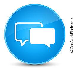 Testimonials icon elegant cyan blue round button