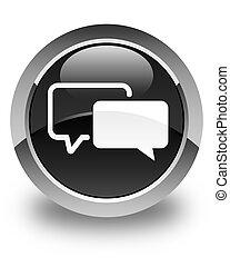 Testimonials icon glossy black round button