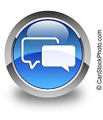 Testimonials icon glossy blue round button