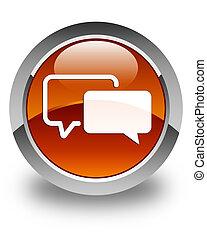 Testimonials icon glossy brown round button