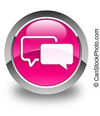 Testimonials icon glossy pink round button