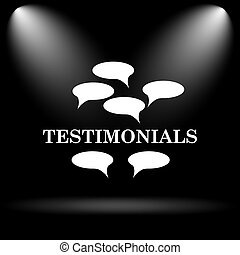Testimonials icon. Internet button on black background.