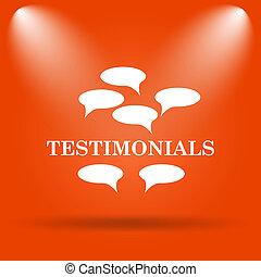 Testimonials icon. Internet button on orange background.