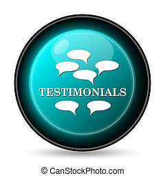 Testimonials icon. Internet button on white background.