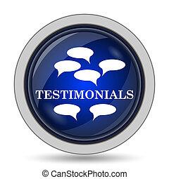 Testimonials icon. Internet button on white background.