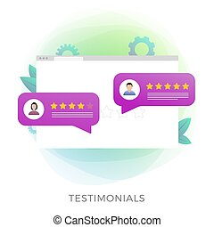 Testimonials icon isolated on white. Browser window with a form for leaving feedback about a company, product or service. Customer feedback with bubbles reviews and star rating.