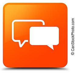 Testimonials icon orange square button