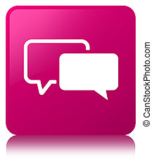 Testimonials icon pink square button