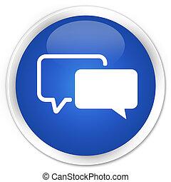 Testimonials icon premium blue round button