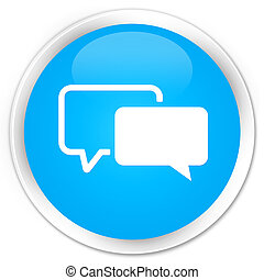 Testimonials icon premium cyan blue round button