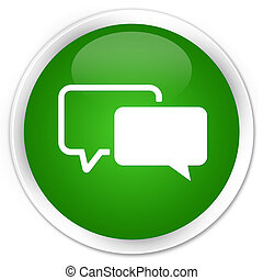 Testimonials icon premium green round button