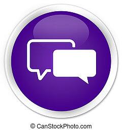Testimonials icon premium purple round button