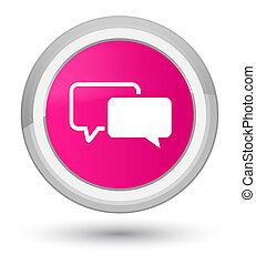 Testimonials icon prime pink round button