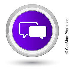 Testimonials icon prime purple round button