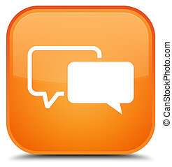 Testimonials icon special orange square button