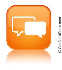 Testimonials icon special orange square button