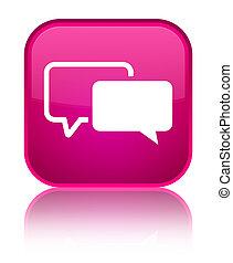 Testimonials icon special pink square button