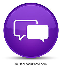 Testimonials icon special purple round button
