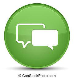 Testimonials icon special soft green round button