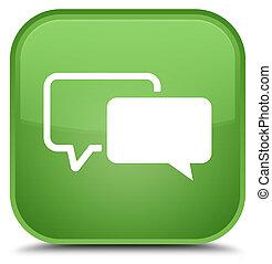 Testimonials icon special soft green square button