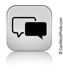 Testimonials icon special white square button