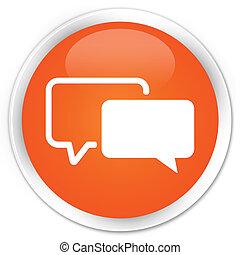 testimonials, laranja, botão, ícone