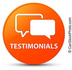 Testimonials orange round button