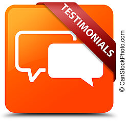 Testimonials orange square button red ribbon in corner
